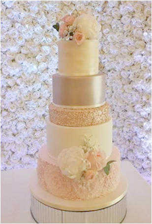 Romantic Pink and Gold Wedding Cake